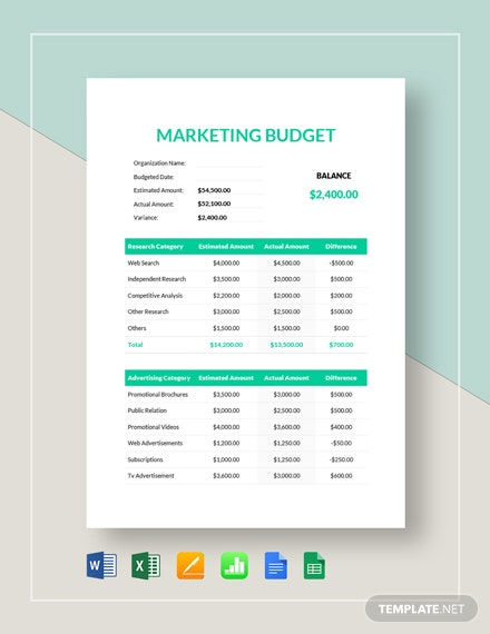simple marketing budget template  download 175  budget