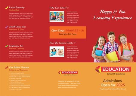 Free Kindergarten Tri-Fold Brochure Design Template