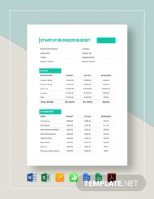 Startup Business Budget Template