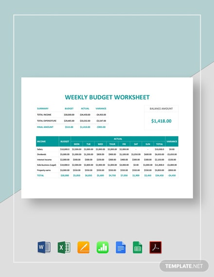 Weekly Budget Worksheet Template