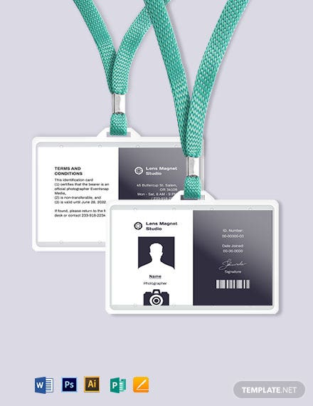 Blank Photographer ID Card Template