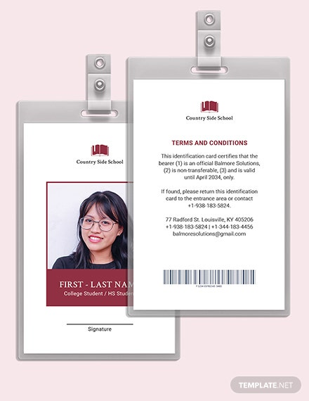 Blank School ID Card Download