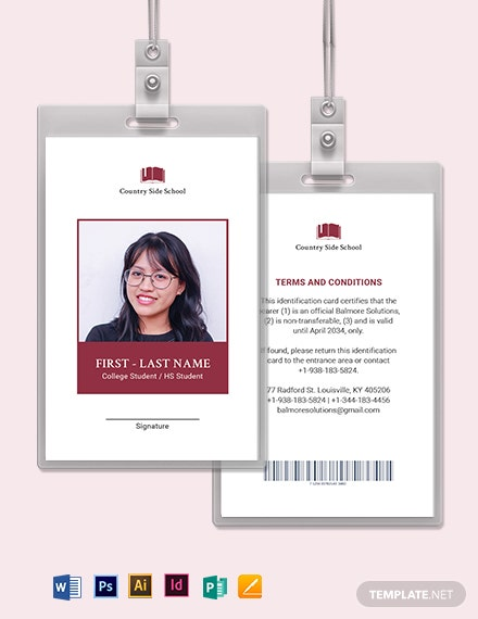 Blank School ID Card Template