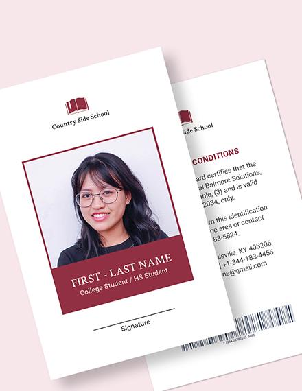 Sample Blank School ID Card