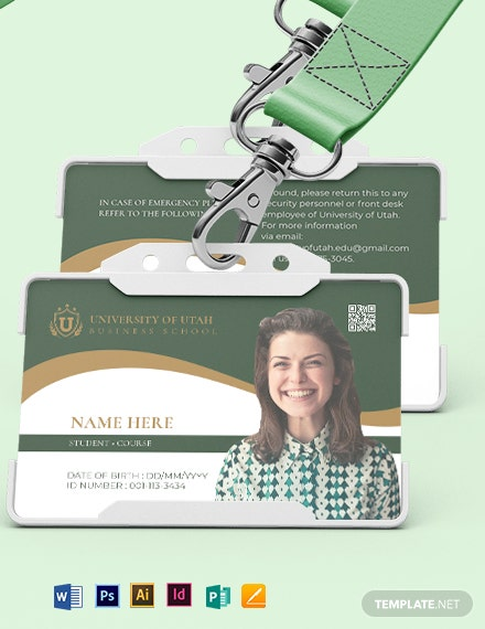 Blank University ID Card Template