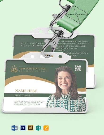 Blank University ID Card Template
