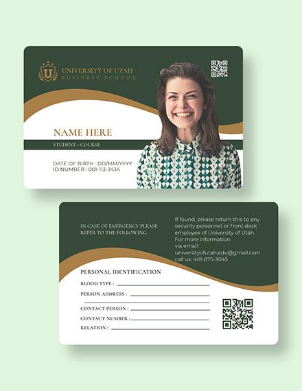 Sample Blank University ID Card