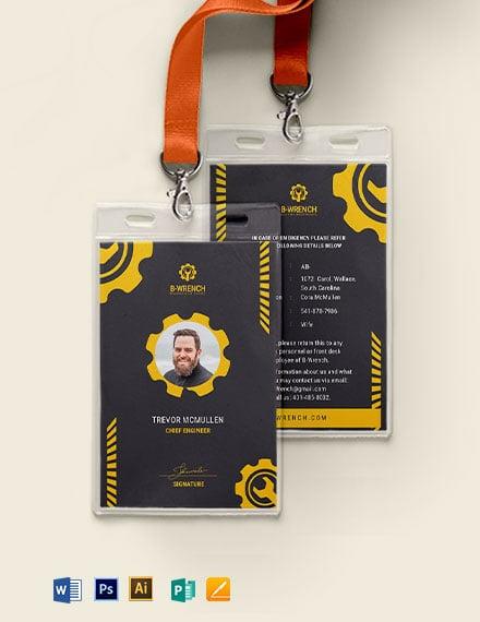Building Maintenance Service ID Card Template