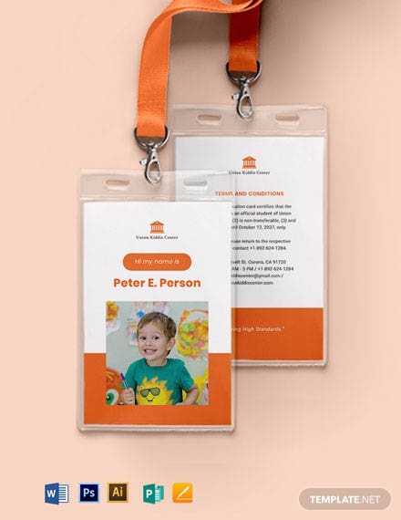 Child/Kid School ID Card Template