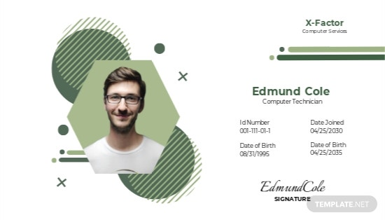 Computer Service ID Card Template