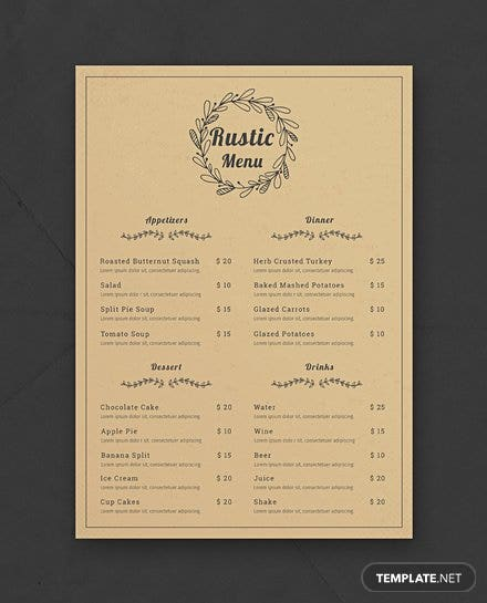 two wedding catering menu templates for free independent