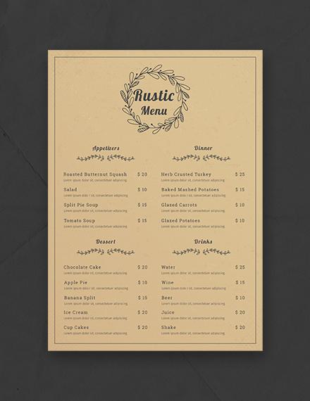 free rustic menu template download 36 menus in psd word
