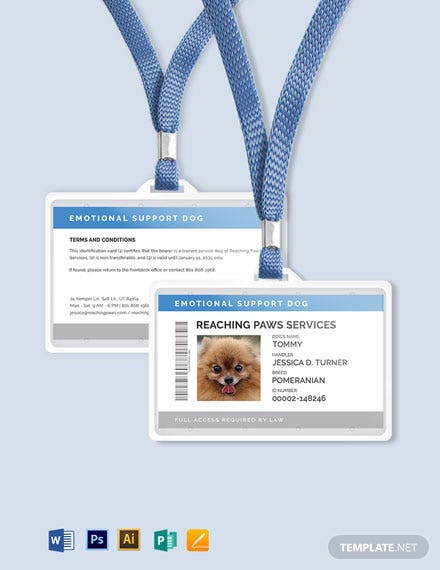 Emotional Support ID Card Template