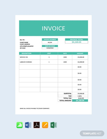 Free Business Service Invoice Template