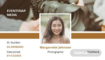 Event Photographer ID Card Template