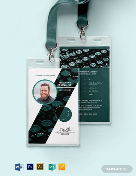 Freelance Journalist  ID Card Template