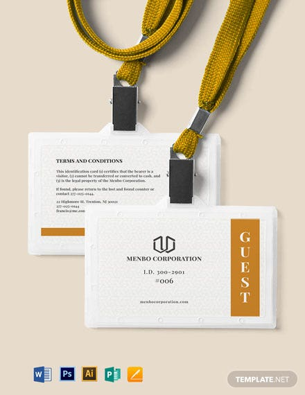 Guest ID Card Template