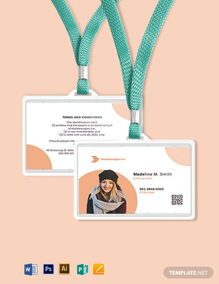 Horizontal Employee ID Card Template