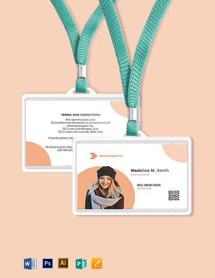 Horizontal Employee ID Card Template