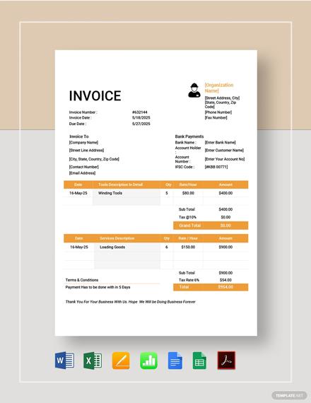 Labour Invoice Template