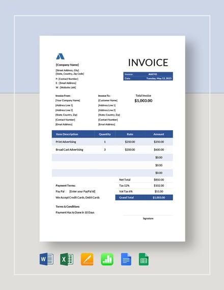 advertising invoice