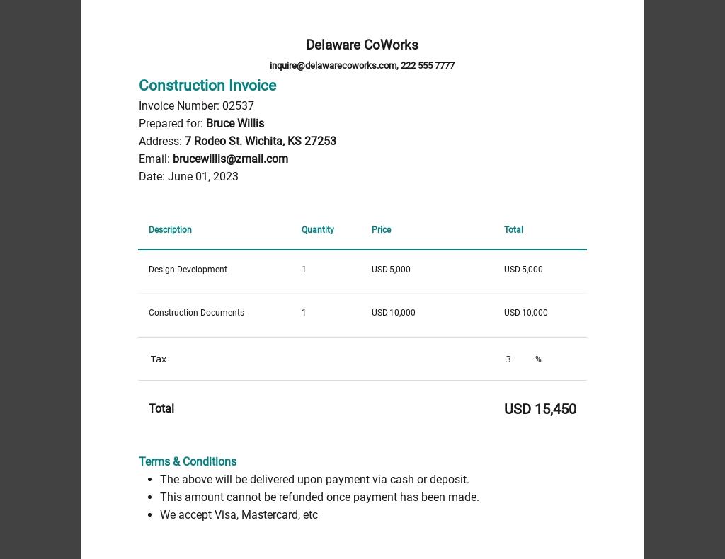 Architect Invoice Template