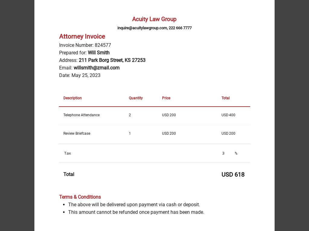 Attorney Invoice Template