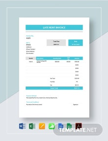 Late Rent Invoice Template