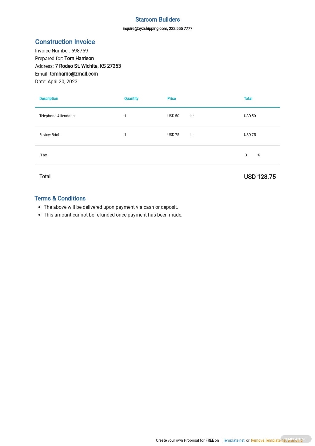Legal Consulting Invoice Template