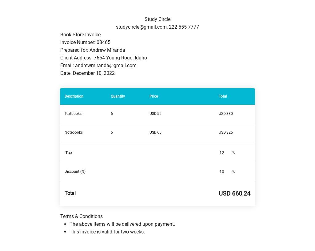 Book Store Invoice Template