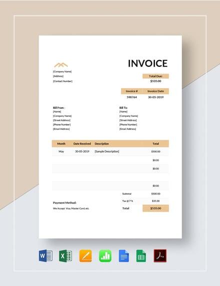 Monthly Rent Invoice