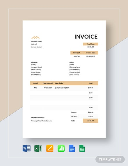 Monthly Rent Invoice Template