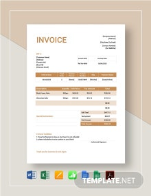 Cake Order Invoice Template
