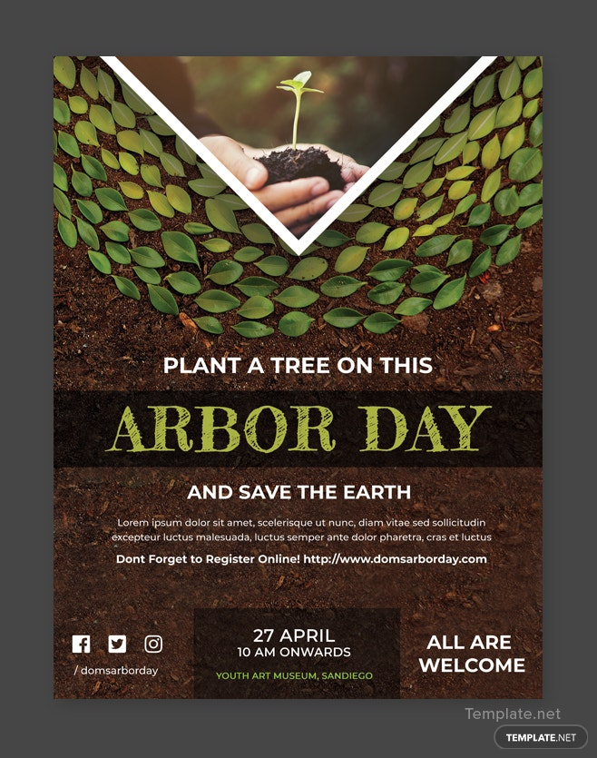 Free Arbor Day Flyer Template In Adobe Photoshop Template