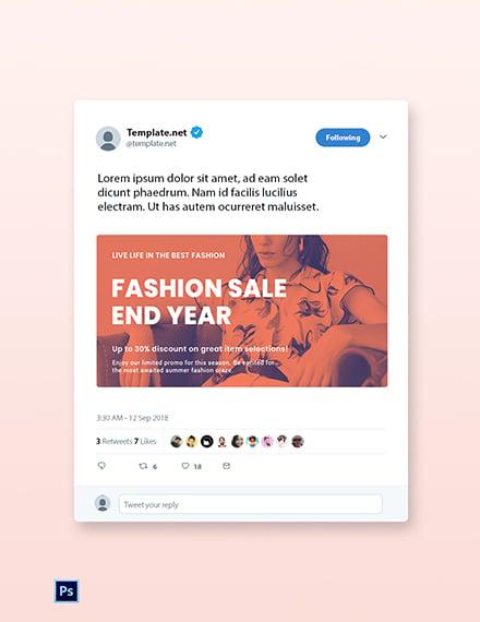 Free Minimalistic Fashion Sale Twitter Post Template