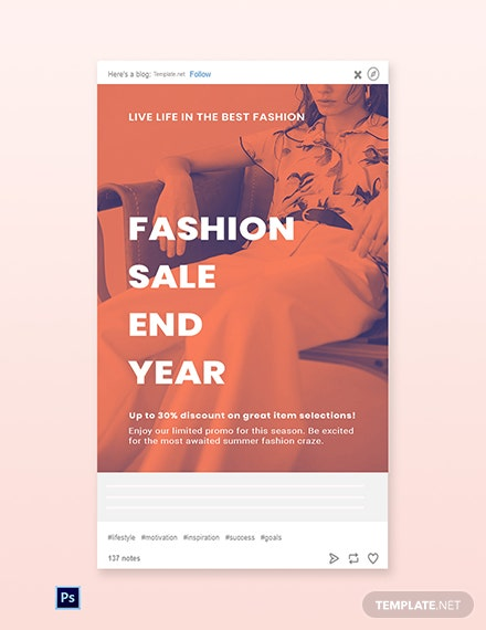 Free Minimalistic Fashion Sale Tumblr Post Template