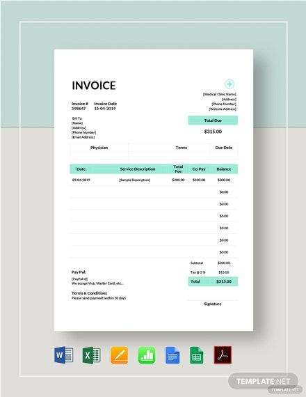 Clinic Invoice Template