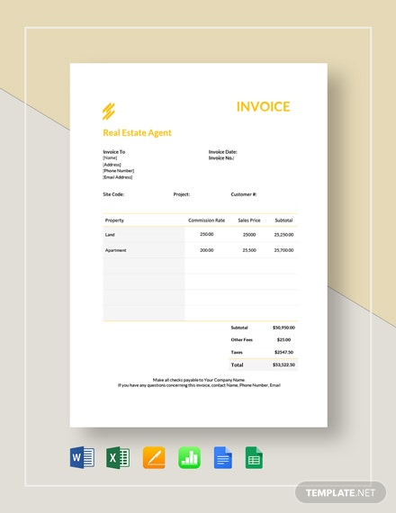 real estate agent invoice