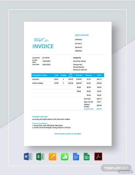 Retail Store Invoice Template