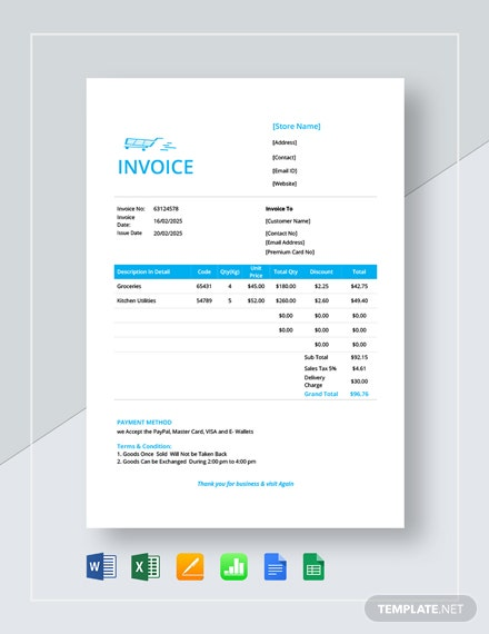 retail store invoice