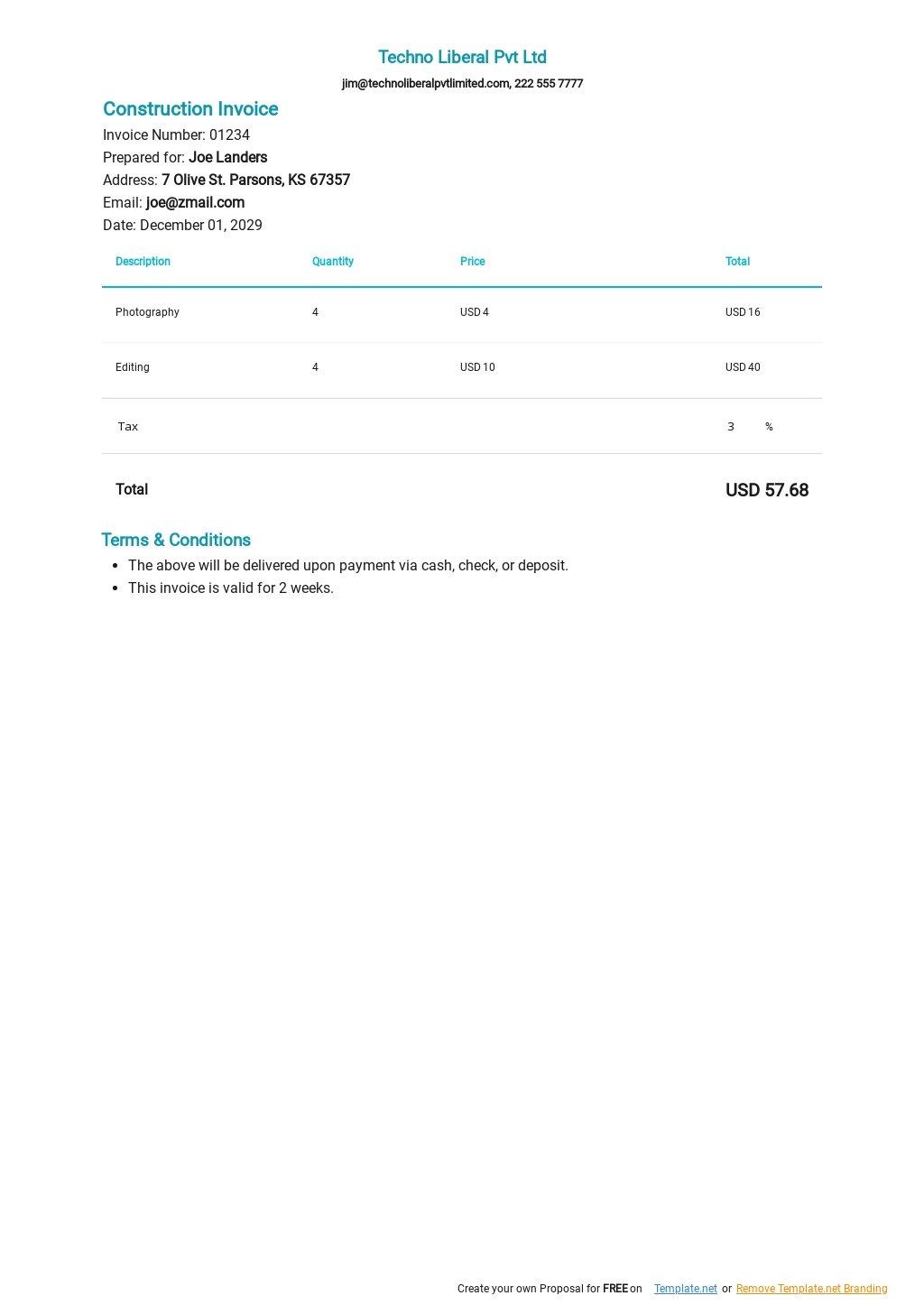 Self Employment Contractor Invoice Template.jpe