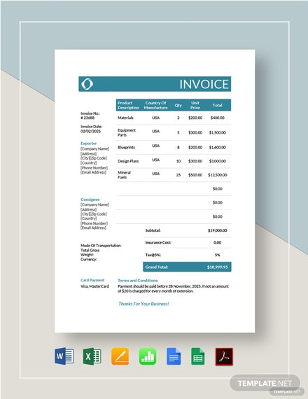Commercial Invoice Template For Export