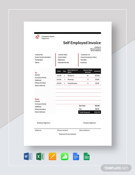 Self Employment Hourly Invoice Template
