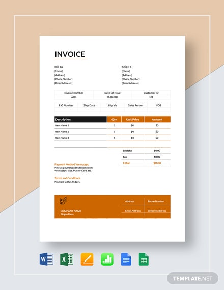 Small Business Sales Invoice Template