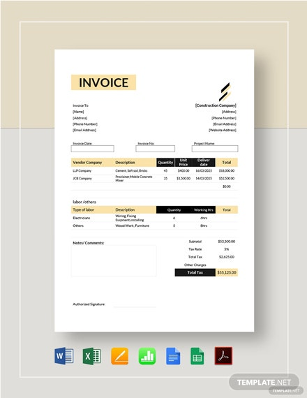 Construction Estimate Invoice Template