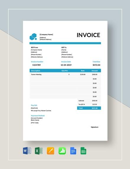 educational consultant invoice