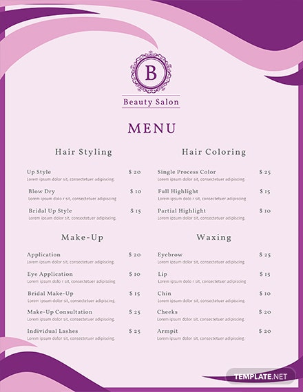 Free salon menu template download 36 menus in psd word publisher free salon menu template download 36 menus in psd word publisher indesign illustrator apple pages template maxwellsz