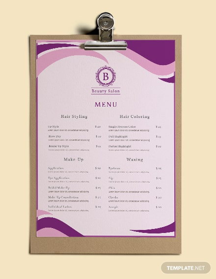 free salon menu templates 1x
