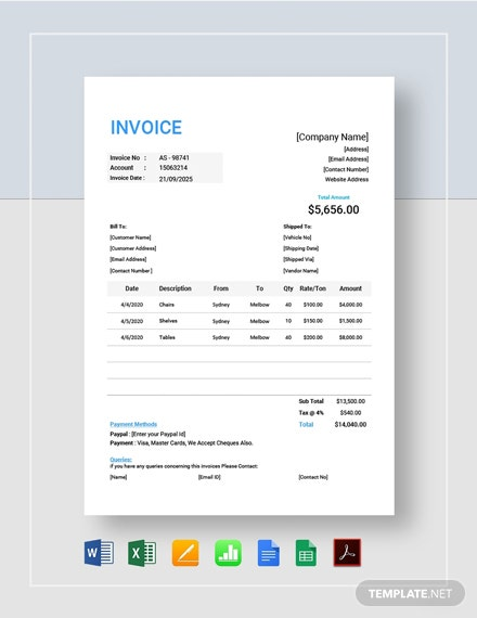 Trucking Company Invoice Template Pdf Word Doc Excel Apple Mac Pages Google Docs Google Sheets Apple Mac Numbers