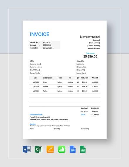 trucking company invoice
